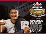 Upeshka de Silva - campeão do Evento #3 ($3.000 Shootout) - WSOP 2017