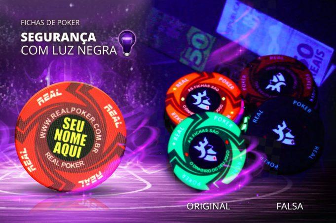 Fichas reagentes à luz negra - Real Poker