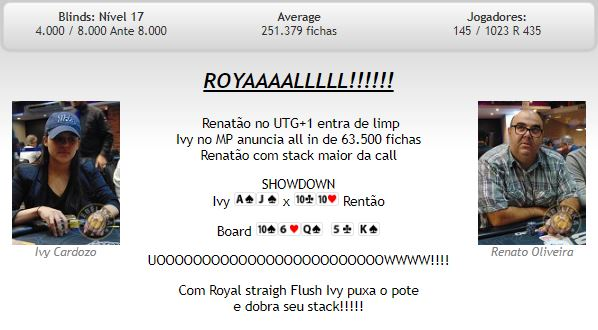 Royal Flush no MasterMinds 11