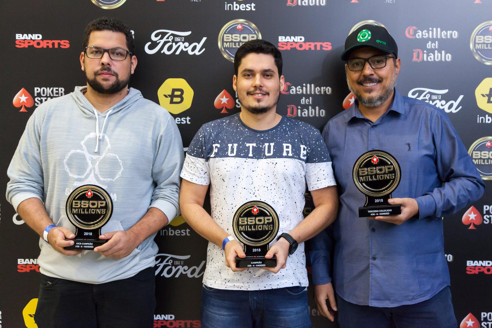 Bruno Severino, Gabriel Bonfim e Luiz Carlos dos Santos - Campeão 6-Handed - BSOP Millions