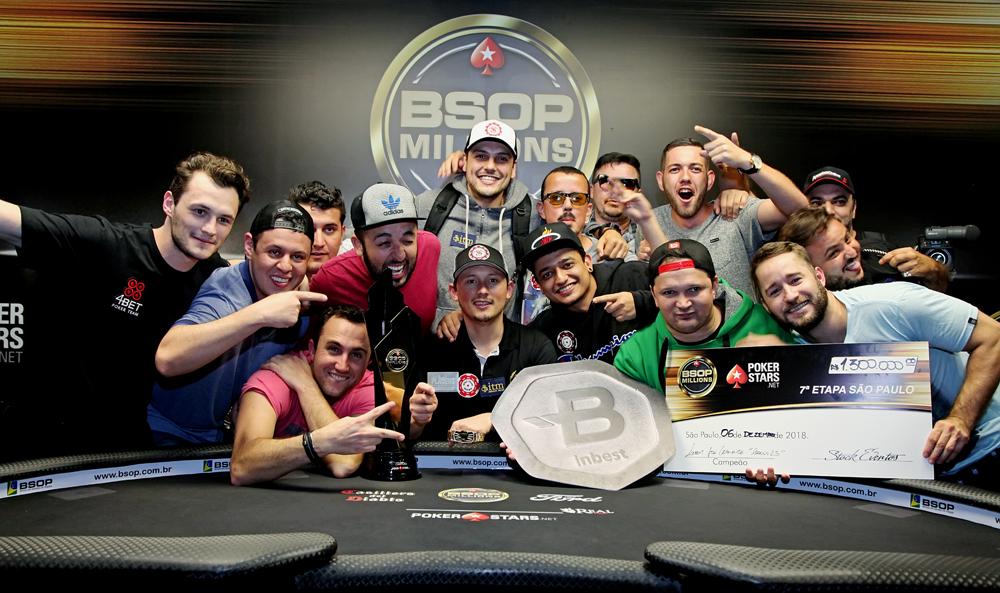 Leocir Carneiro e torcida - Campeão Main Event BSOP Millions