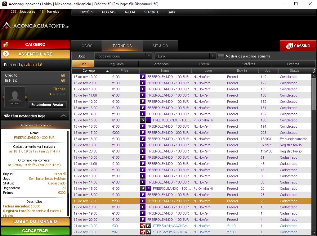 Lobby da Semana de Freerolls do Aconcagua Poker.Es