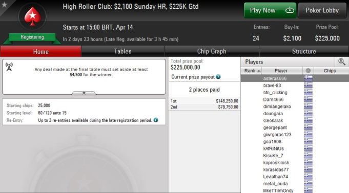 Lobby do High Roller Club cheio de gregos no PokerStars
