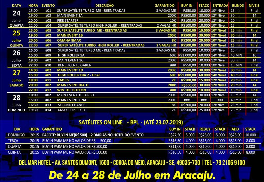 Cronograma do Sergipe Poker Fest III