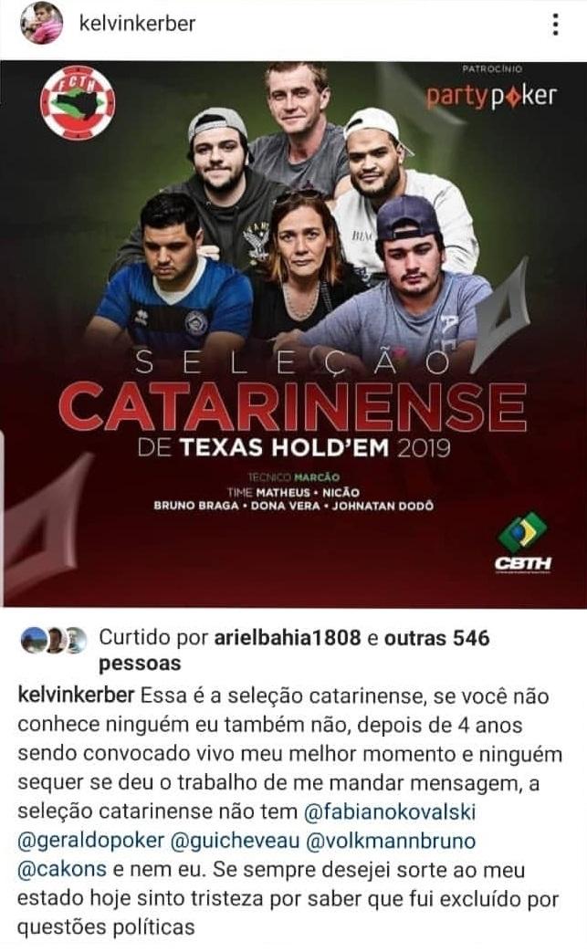 Post de Kelvin Kerber sobre a convocação da Seleção Catarinense de Poker