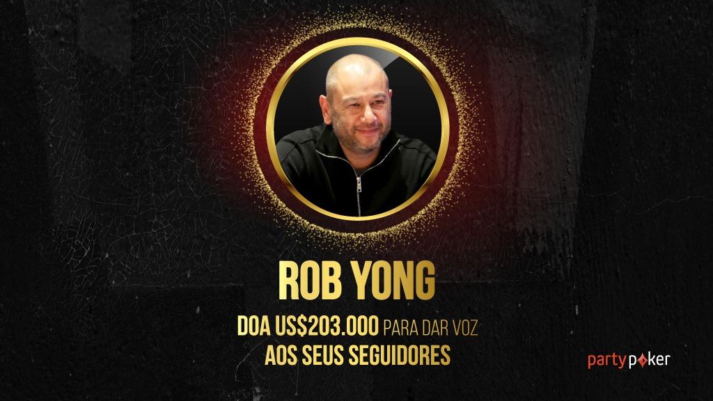 Rob Yong irá distribuir mais de US$ 200 mil entre doação e prêmios