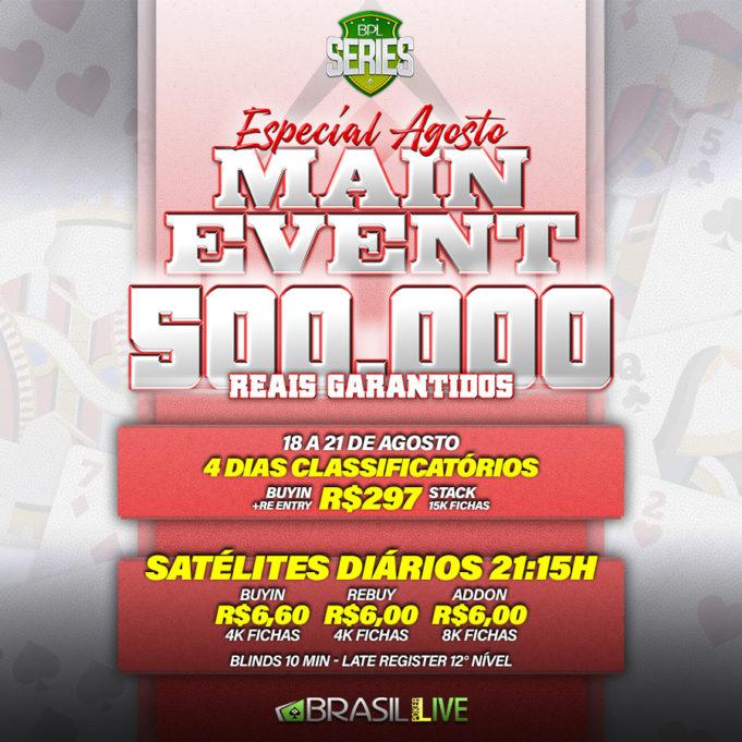 Satélites do Especial de Agosto do Brasil Poker Live