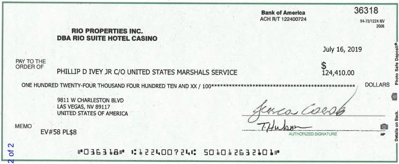Cheque do prêmio de Phil Ivey enviado à Marina District Development Co. LCC