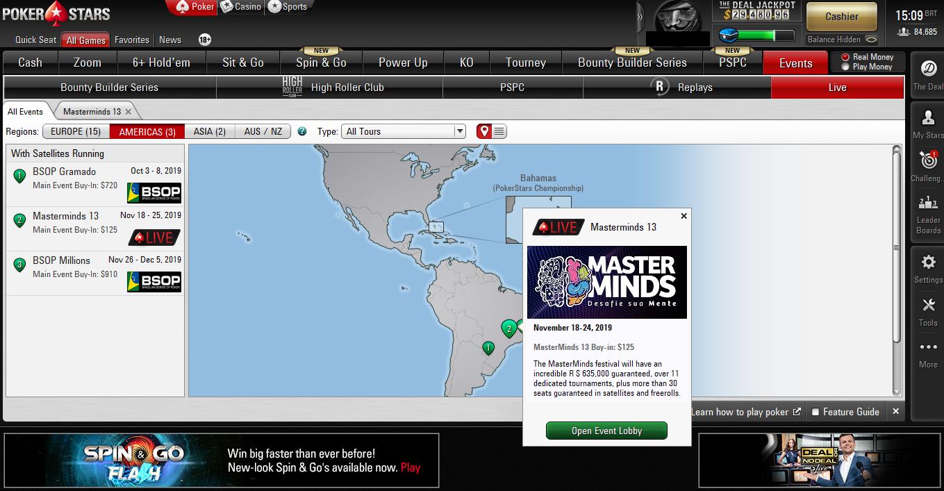 Lobby do PokerStars com satélite do MasterMinds 13
