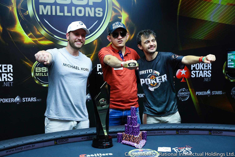 Rafael Caliman, Madson Moura e Diego Beirigo - Main Event - BSOP Millions