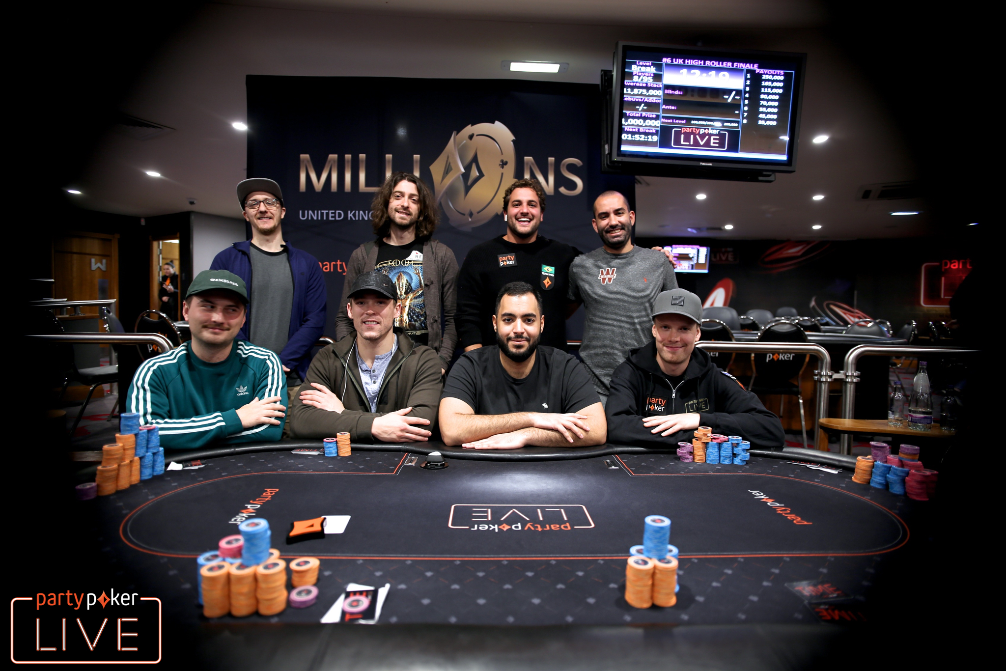 Mesa Final do High Roller Finale do partypoker MILLIONS Reino Unido
