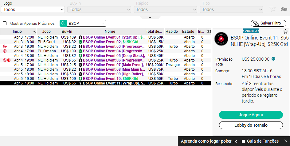 Programação BSOP Online