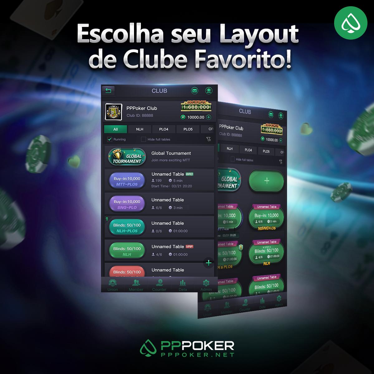 Nova interface de clubes do PPPoker