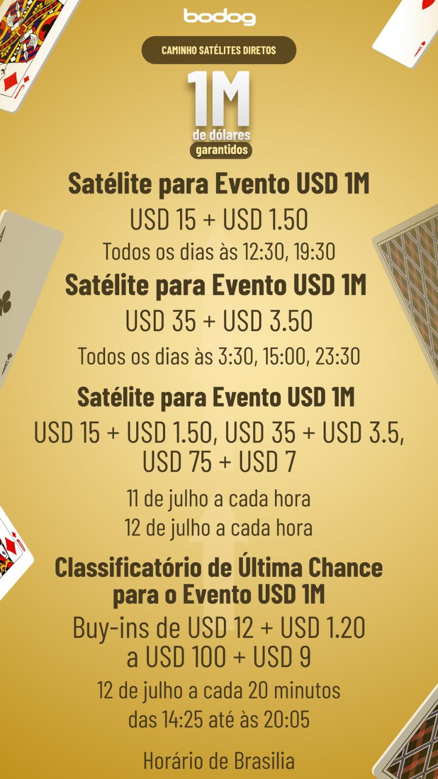 Calendário Satélites R$ 1 Milhão - Bodog
