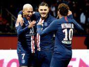 Mbappé (esq.), Mauro Icardi e Neymar (dir.) formam trio matador no PSG