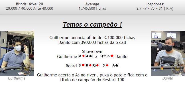 Mão final do título de Guilherme Silva no Restart do H2 Club