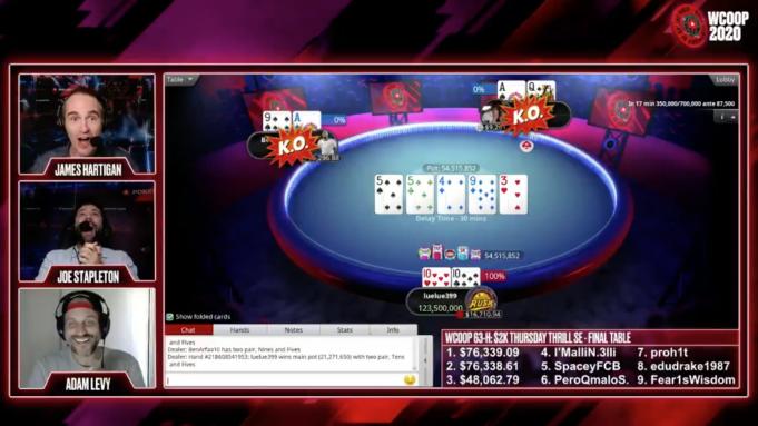PokerStars reuniu cinco jogadas marcantes da última edição do WCOOP