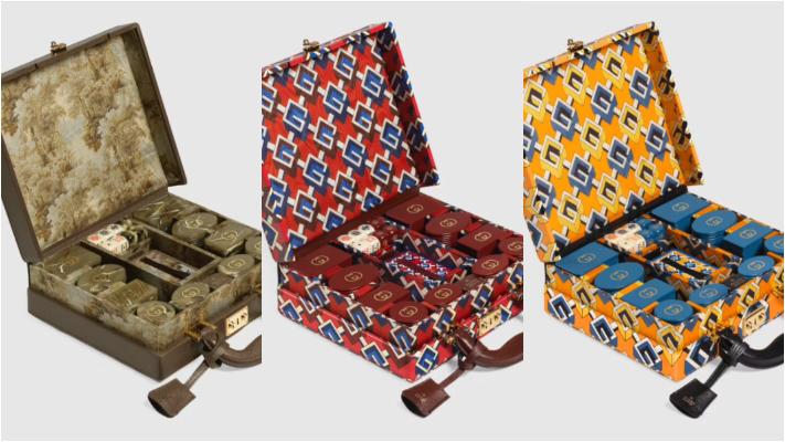 Três versões disponíveis de kits de poker da Gucci